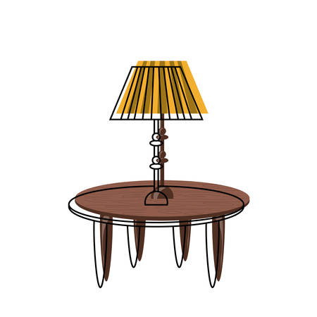 Table with decorative lamp icon over white illustration.