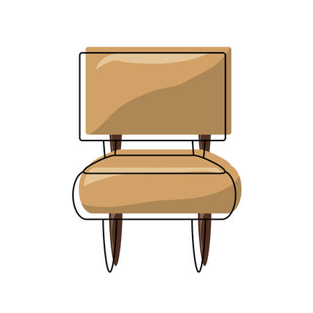 Armless accent chair icon over white illustration.