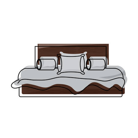Bed with pillows and cushions over white illustration.