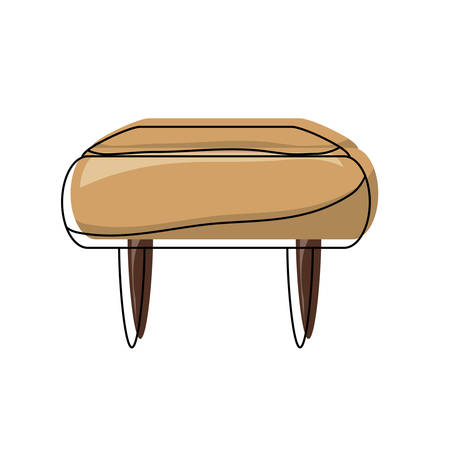 Pouf chair icon over white illustration.