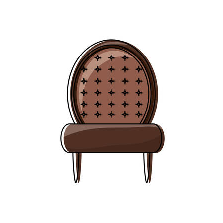 Vintage armless accent chair icon over white illustration.