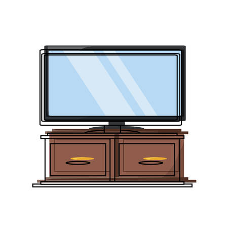chest of drawers with flat television icon over white background colorful design vector illustration