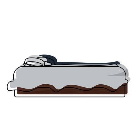 Vue latérale du lit avec des oreillers, icône sur fond blanc .vector illustration Banque d'images - 91557719