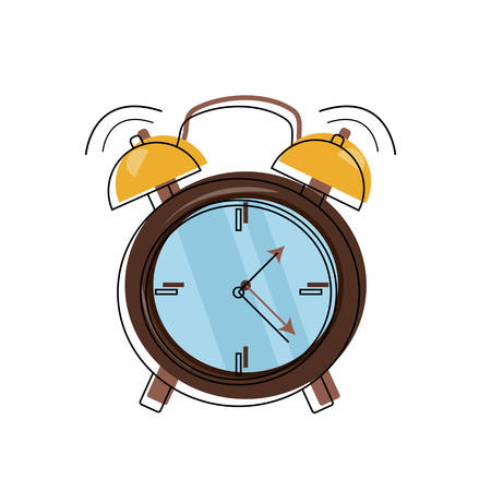 alarm clock ringing icon over white background colorful design vector illustration