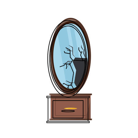 Table with broken mirror icon over white illustration.