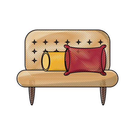 Couch with cushions icon over white background colorful design vector illustration