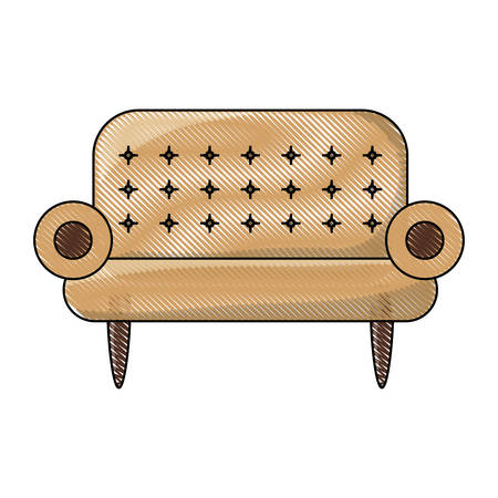 Sofa icon over white background colorful design vector illustration
