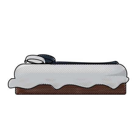 Vue latérale du lit avec des oreillers, icône sur illustration vectorielle fond blanc design coloré Banque d'images - 91580395