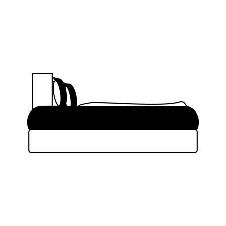 Vue latérale du lit avec des oreillers, icône sur fond blanc .vector illustration Banque d'images - 91582212