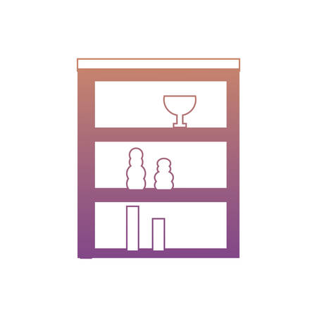Shelves Unit with decorative vases over white background colorful design vector illustration