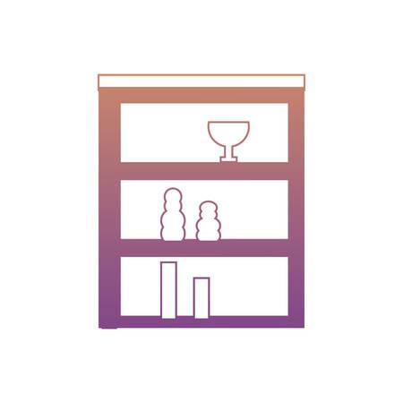 Shelves Unit with decorative vases over white background colorful design vector illustration