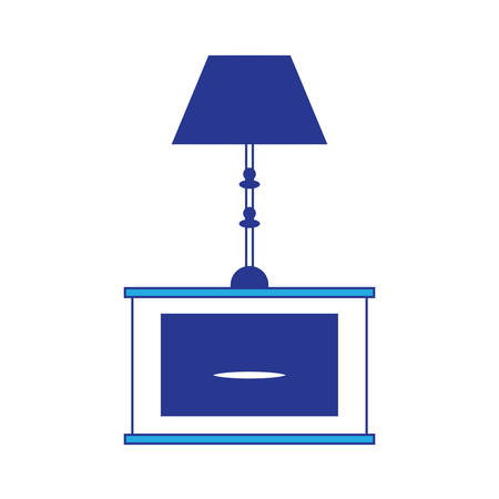 Night stand with table lamp icon over white background colorful design vector illustration