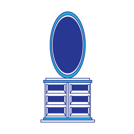 Oval mirror and chest of drawers icon over white background vector illustration