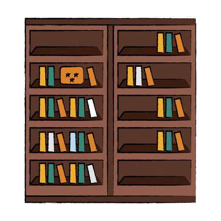 Bookshelf with books icon Illustration
