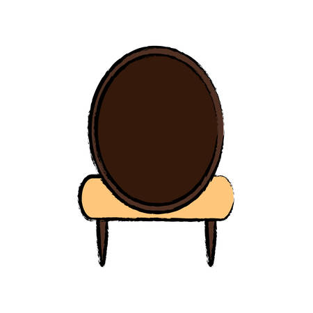 Vintage armless accent chair icon over white background colorful design vector illustration Illustration