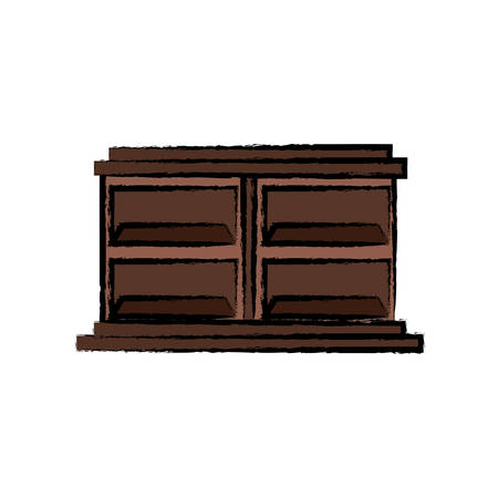 Empty wooden shelves unit icon over white background vector illustration