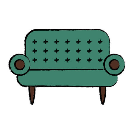 Sofa icon over white background colorful design vector illustration