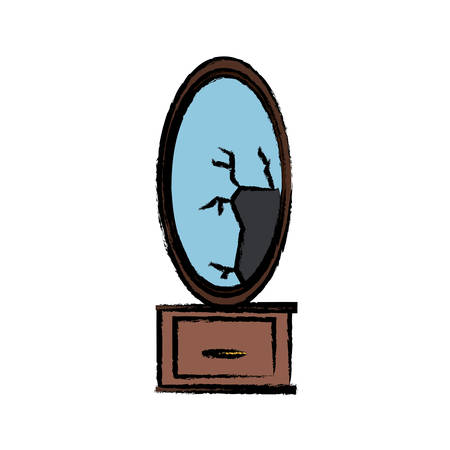 dressing table with broken mirror icon over white background vector illustration
