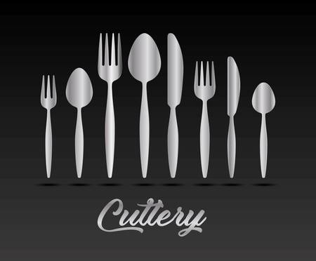 silver cutlery collection vector illustration graphic design