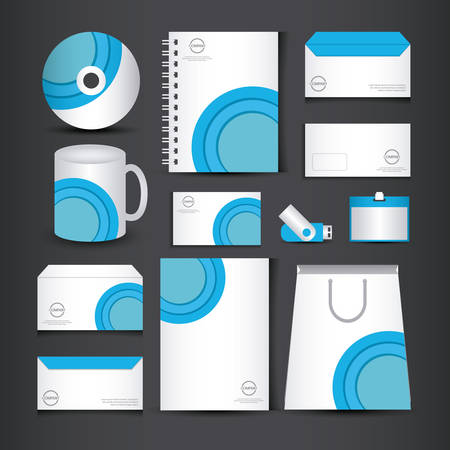 blue and white stationery template design with lines and semicircle vector illustration graphic design