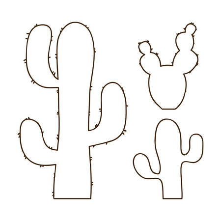 Hand drawn outline cactus set Vectores