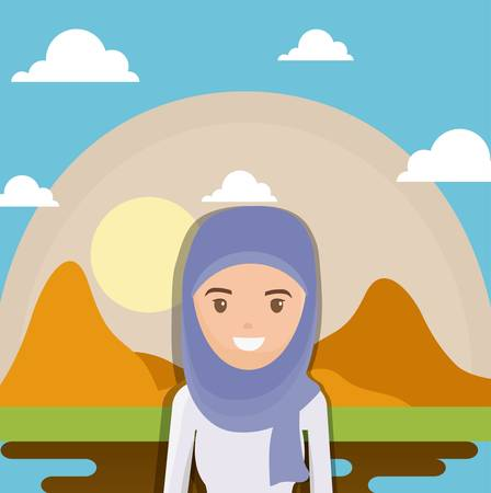 landscape of dry desert with arabic woman vector illustration graphic design