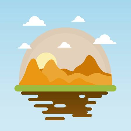 landscape of dry desert vector illustration graphic design  Illustration