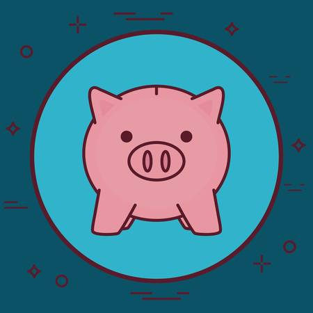 piggy bank icon over blue circle and background colorful design vector illustration  イラスト・ベクター素材
