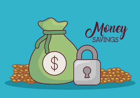 Money sack and padlock with coins around over blue background vector illustration