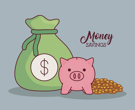 Money sack with piggy bank and coins over gray background colorful design vector illustration