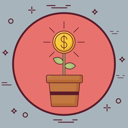 money plant icon Vector illustration. Stock Illustratie