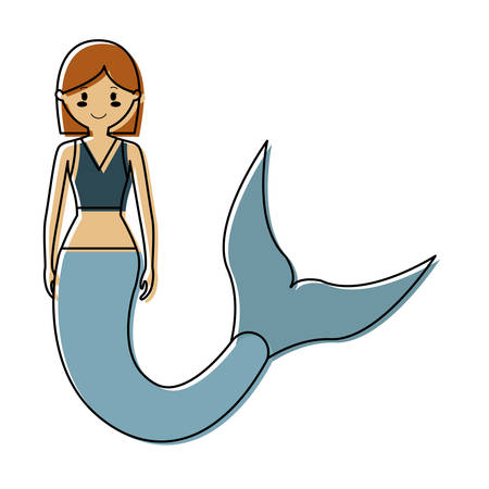 Colored mermaid with short hair brown an green blouse over white backround. Illustration