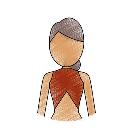 colored woman with hair  picked  brown  and  brown blouse over white bckground  vector illustration