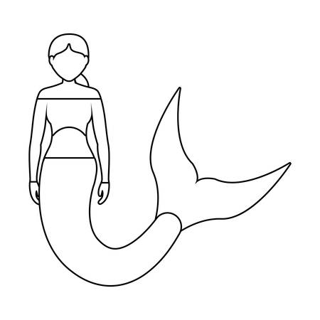 flat line uncolored mermaid with hair  picked  over white background  vector illustration Illusztráció
