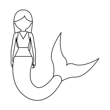 flat line uncolored mermaid with long hair  over white background  vector illustration Banco de Imagens - 91954171