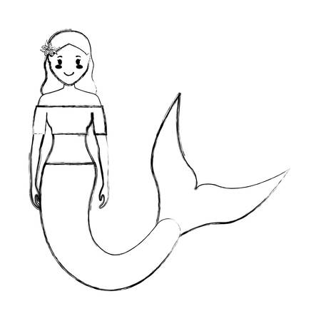 flat line  uncolored mermaid with short hairand flower buckle over background  vector illustration