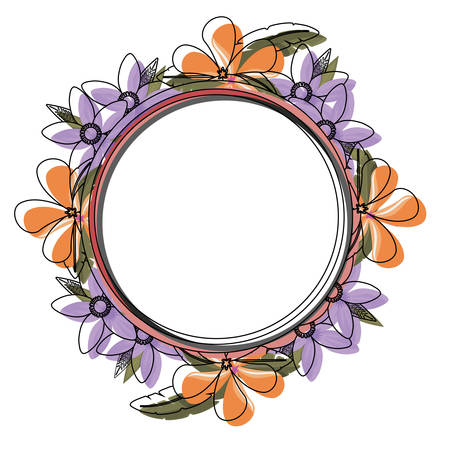 colored  round frame with  flowers purples and salmon   over  white background  vector illustration