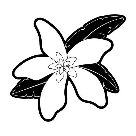 flat line monochromatic  flower with leaves over white background  vector illustration
