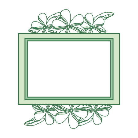flat line colored rectangle frame with  flowers white  over  white background  vector illustration   Illusztráció