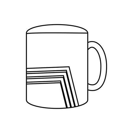 flat line uncolored  mug with lines over white background  vector illustration
