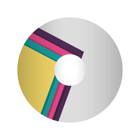 colorful  compact disc   with lines colored over white background  vector illutration
