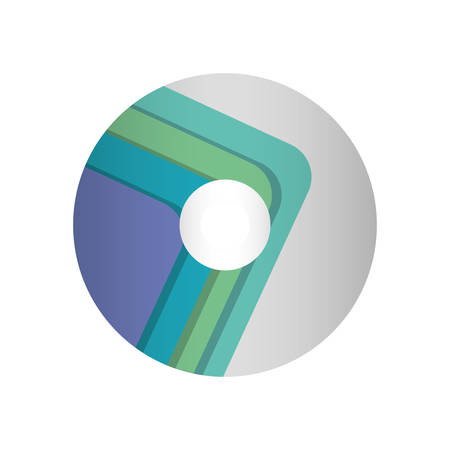 colorful  compact disc   with lines aquamarine over white background  vector illutration