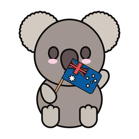 Colorful baby koala with flag of australia over white background vector illustration Stock Illustratie
