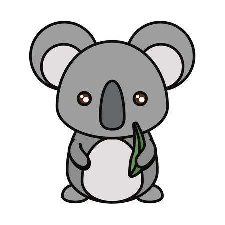 Colorful koala with eucalyptus leaves eover white background vector illustration