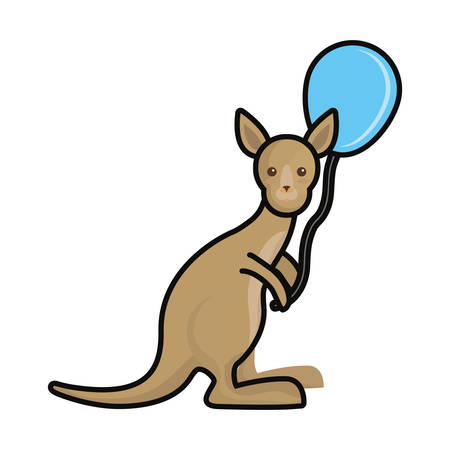 A colorful kangaroo with balloon blue over white background vector illustration