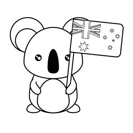 Flat line monochromatic koala with flag of australia over white background vector illustration Stock Illustratie