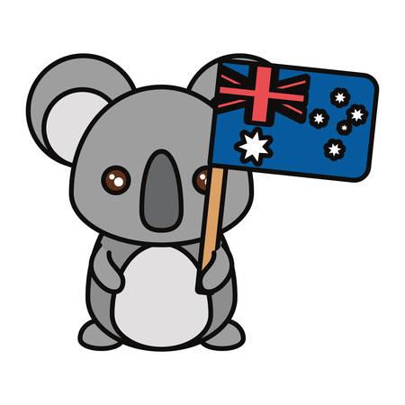 Colorful koala with flag of australia over white background vector illustration