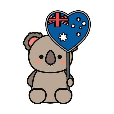 Colorful baby koala with hand pendant of australia over white background vector illustration