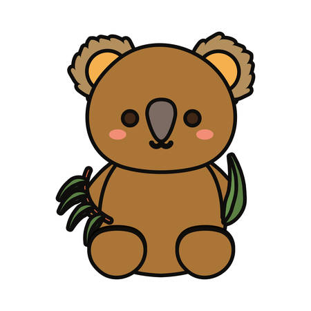 Colorful baby koala with eucalyptus leaves over white background vector illustration