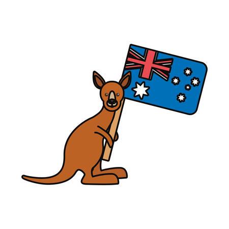 Colorful kangaroo with flag of australia over white background vector illustration Illustration